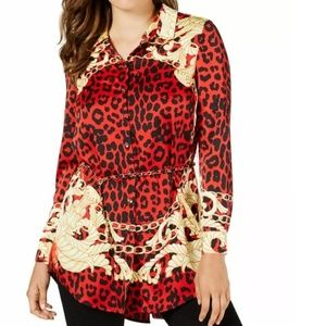 GUESS Printed Chain-Belt Tunic Top Leopard Foulard